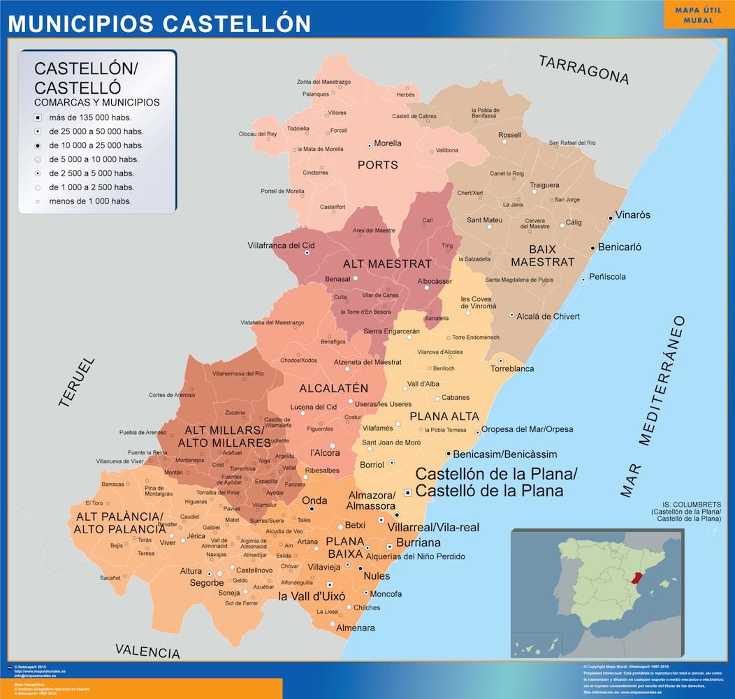 Provincia De Castellón Mapa.Mapa Castellon Por Municipios Plastificado