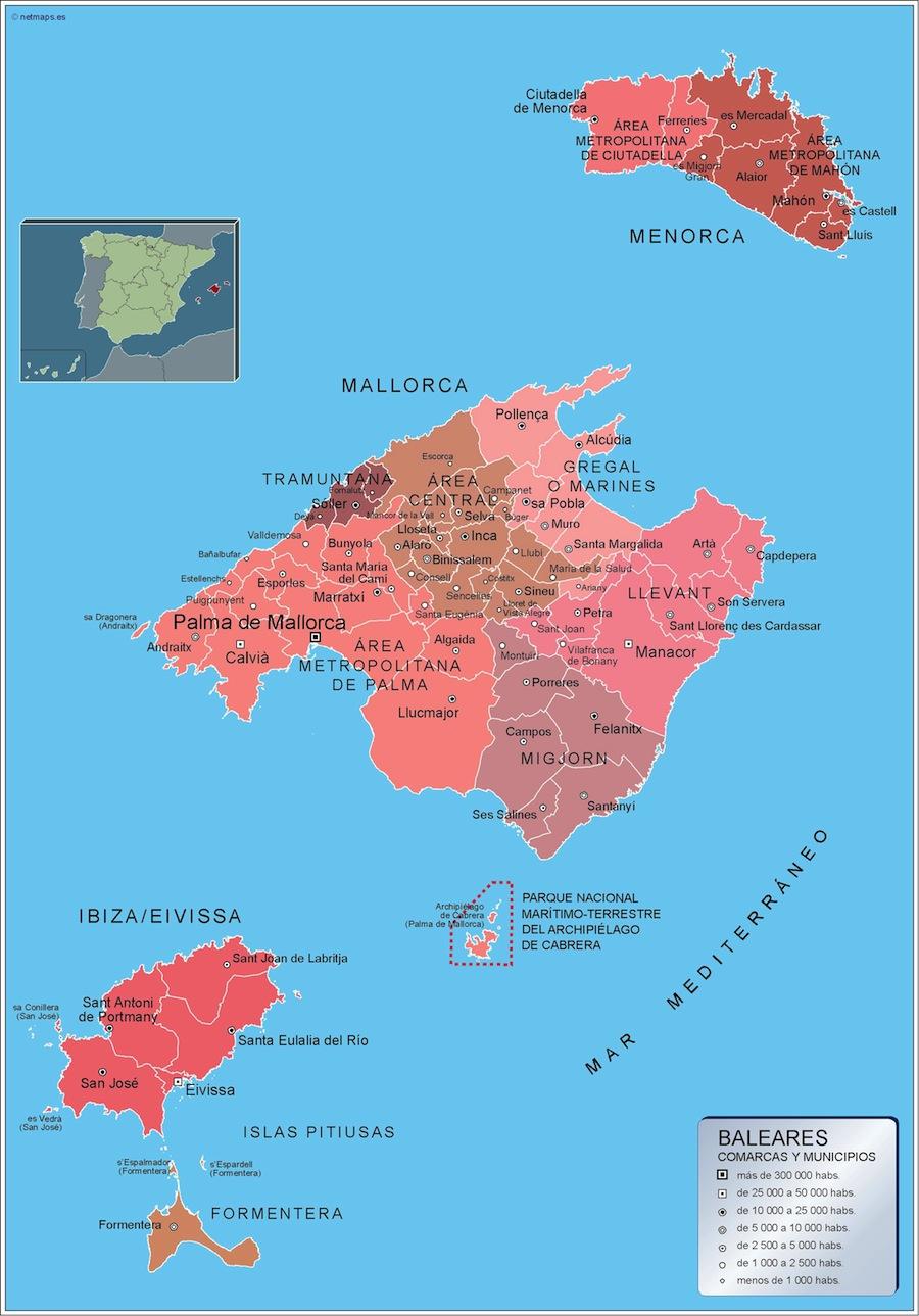 Mapa De La Palma Por Municipios.Mapa Islas Baleares Por Municipios Plastificado