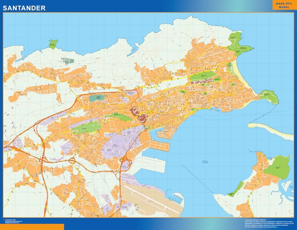 Mapa De Santander España.Mapa Santander Callejero Plastificado