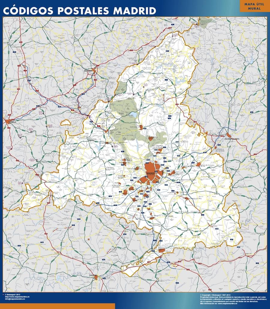 Mapa Codigos Postales Madrid.Mapa De Comunidad De Madrid Codigos Postales Plastificado