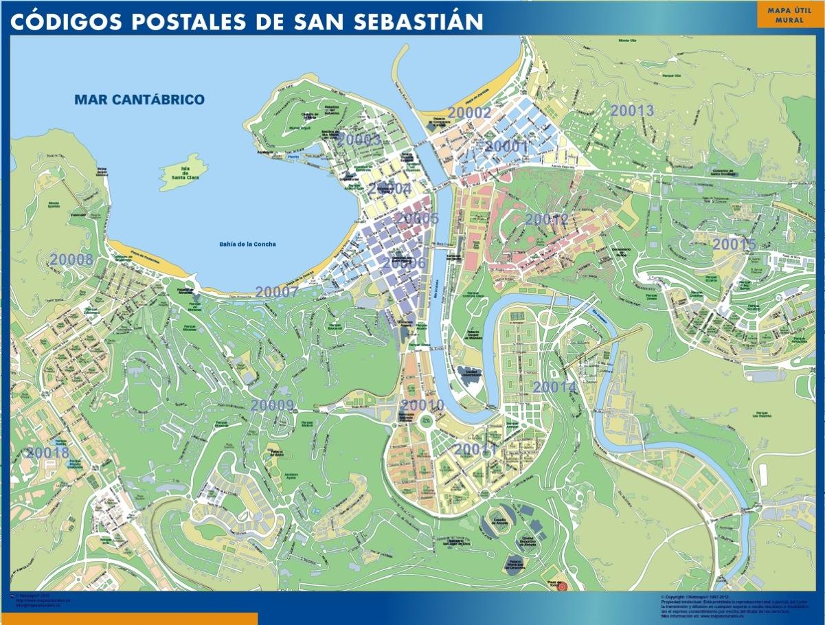 San Sebastian España Mapa.San Sebastian Codigos Postales Plastificado