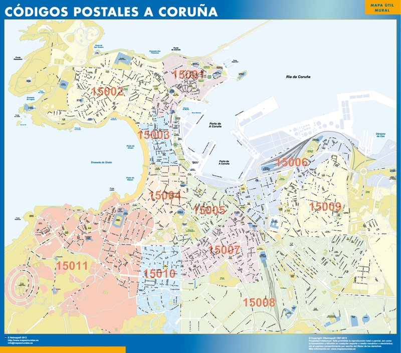 A Coruna códigos postales plastificado gigante