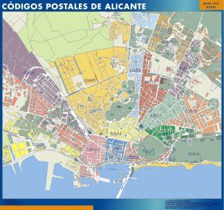 Alicante códigos postales plastificado gigante