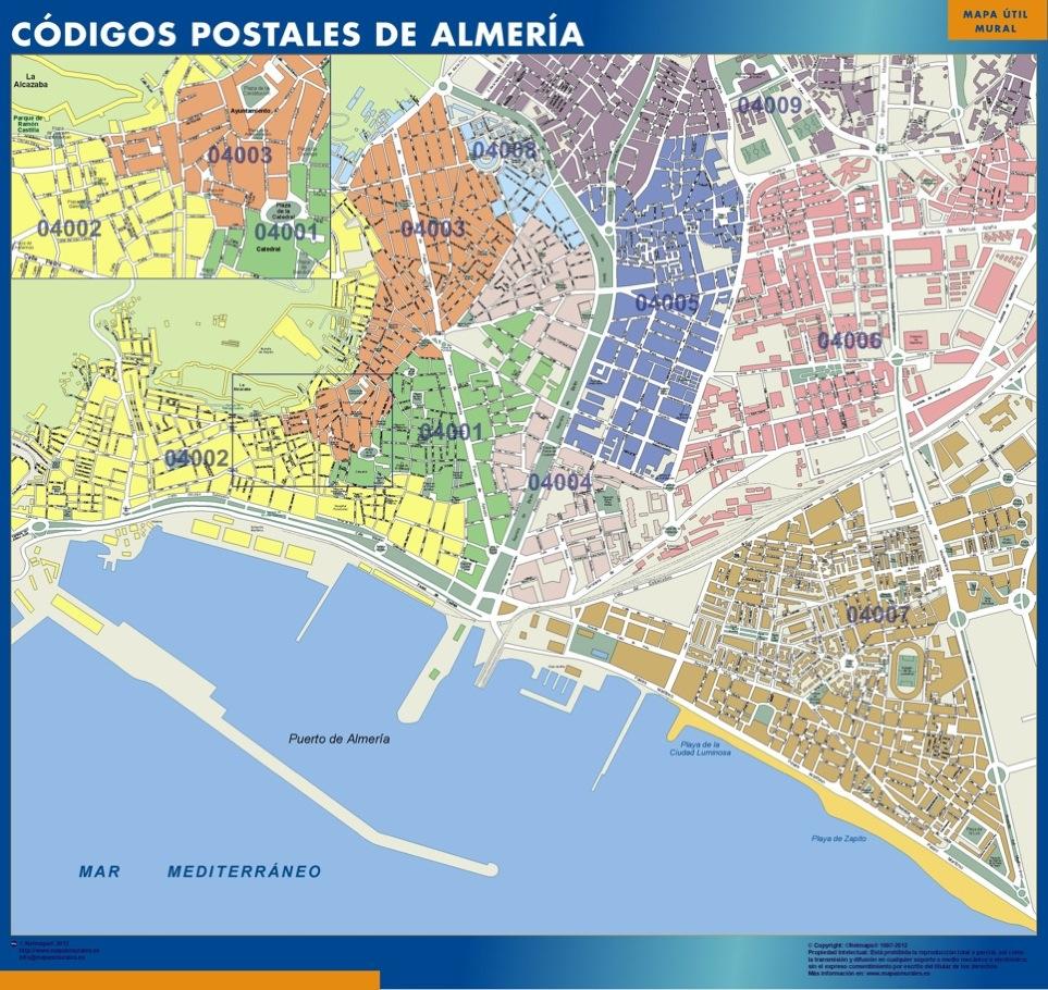 Almeria códigos postales plastificado gigante