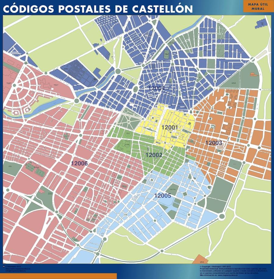 Castellon códigos postales plastificado gigante