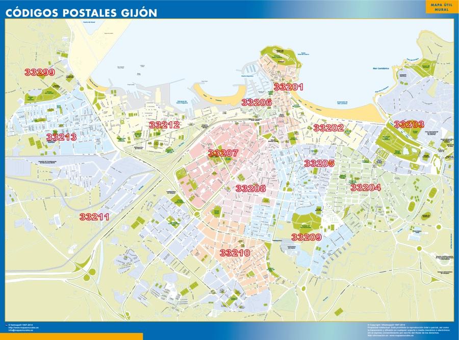 Gijon códigos postales plastificado gigante