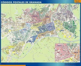 Granada códigos postales plastificado gigante