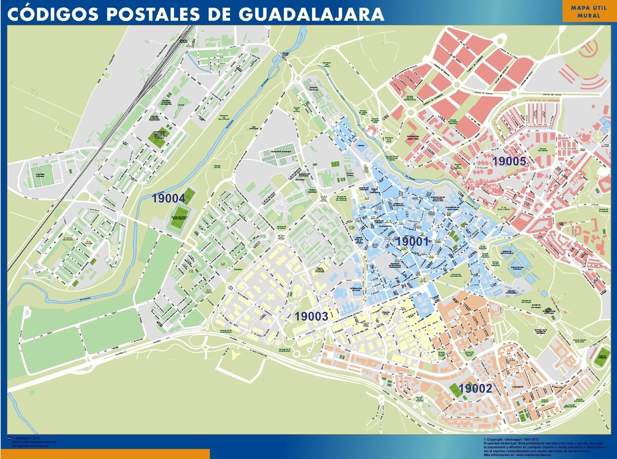 Guadalajara códigos postales plastificado gigante