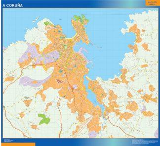 Mapa A Coruna callejero plastificado gigante