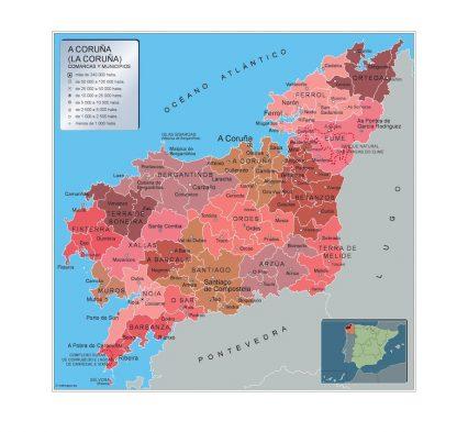 Mapa A Coruna por municipios plastificado gigante