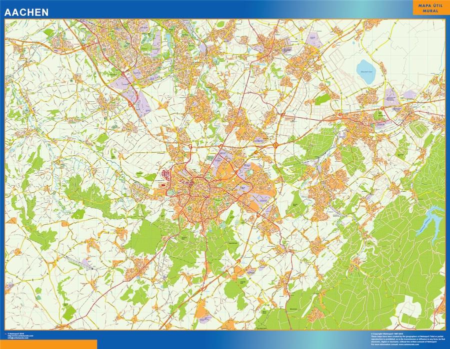 Mapa Aachen en Alemania plastificado gigante