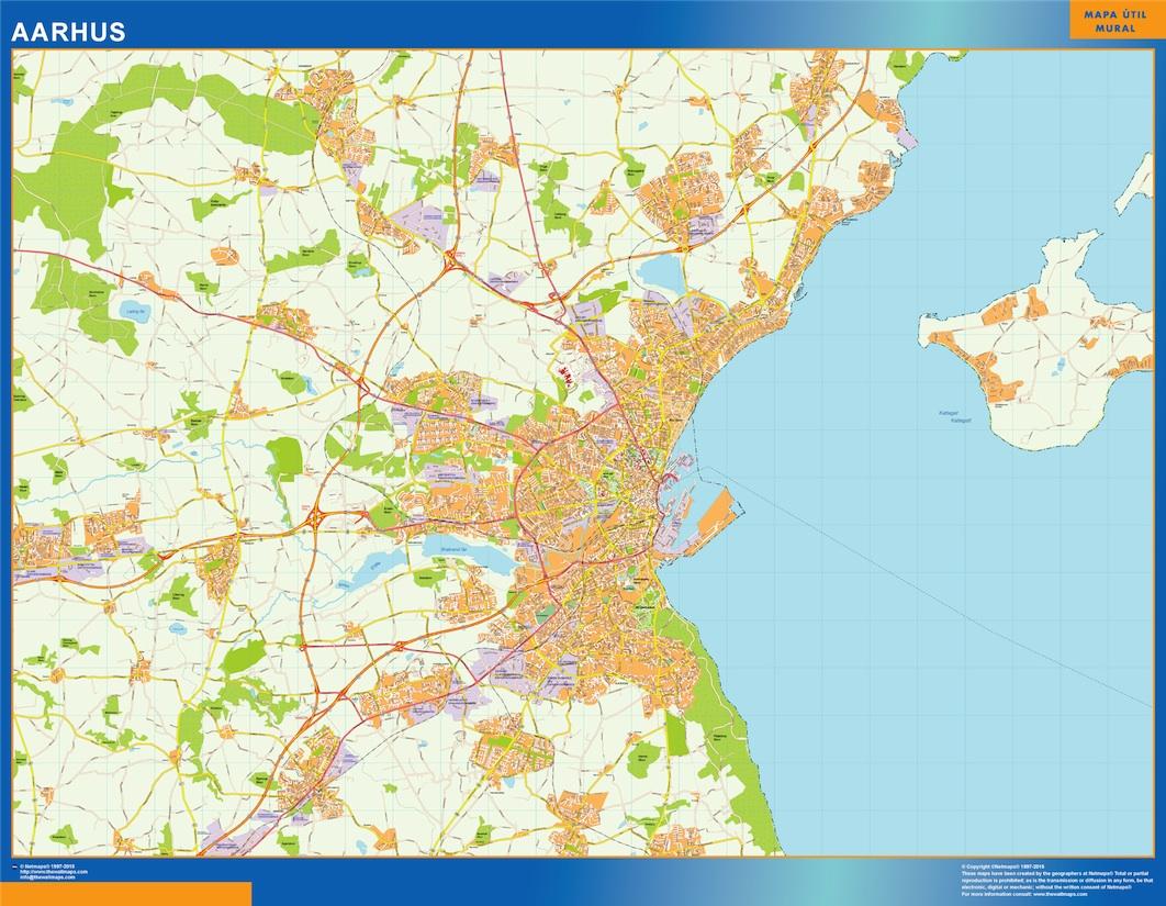 Mapa Aarhus en Dinamarca plastificado gigante