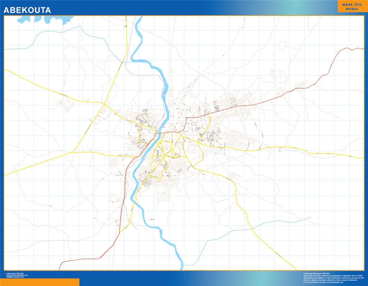 Mapa Abekouta en Nigeria plastificado gigante