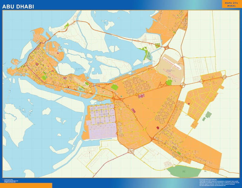 Mapa Abu Dhabi plastificado gigante