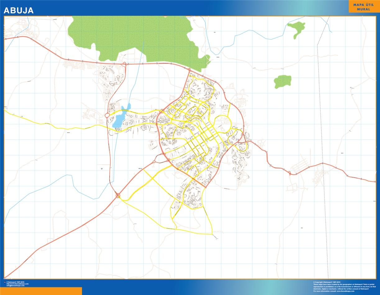 Mapa Abuja en Nigeria plastificado gigante