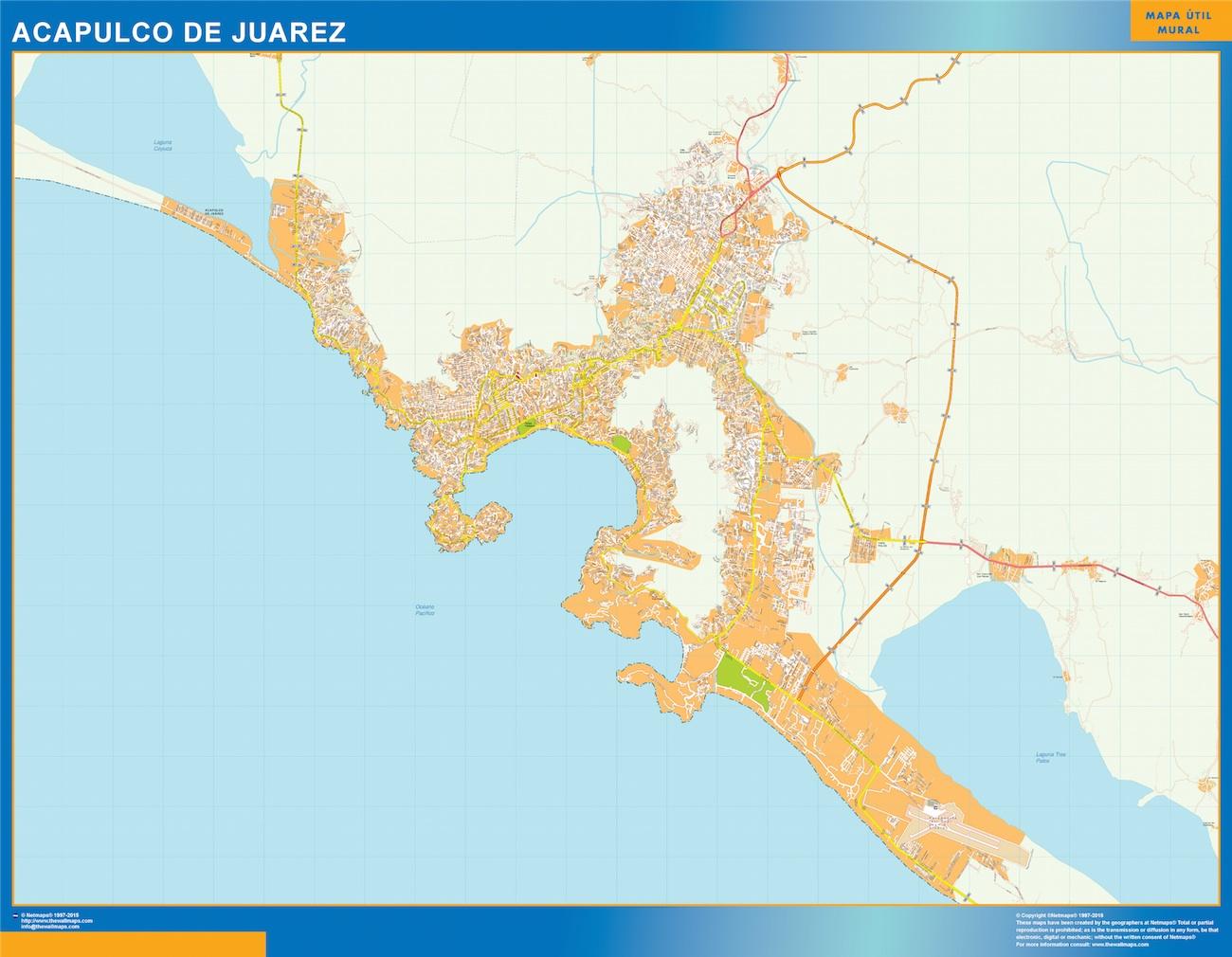 Mapa Acapulco De Juarez en Mexico plastificado gigante