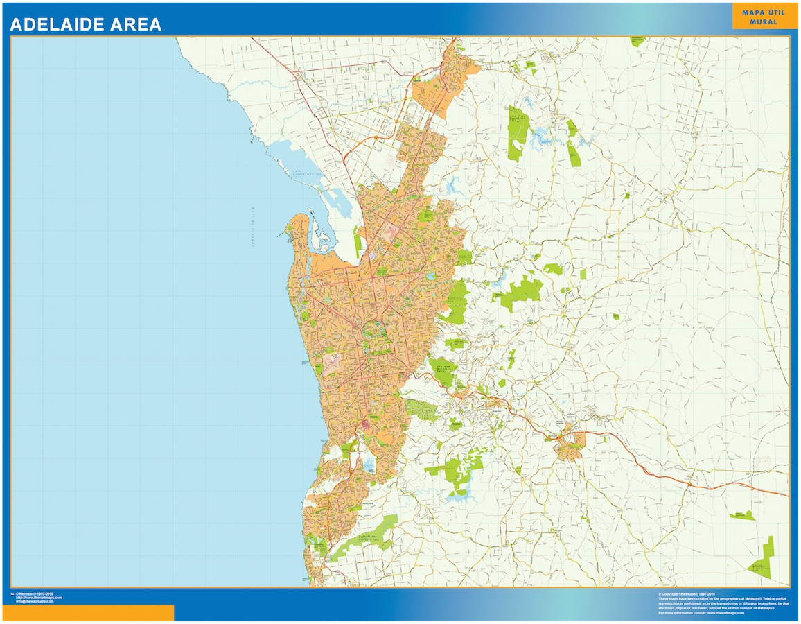 Mapa Adelaide Area Australia plastificado gigante