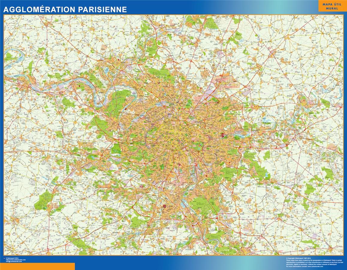 Mapa Agglomeration Parisienne en Francia plastificado gigante