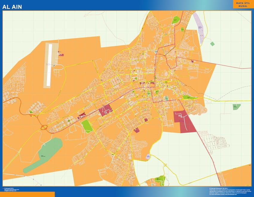 Mapa Al Ain plastificado gigante