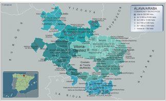 Mapa Alava por municipios plastificado gigante
