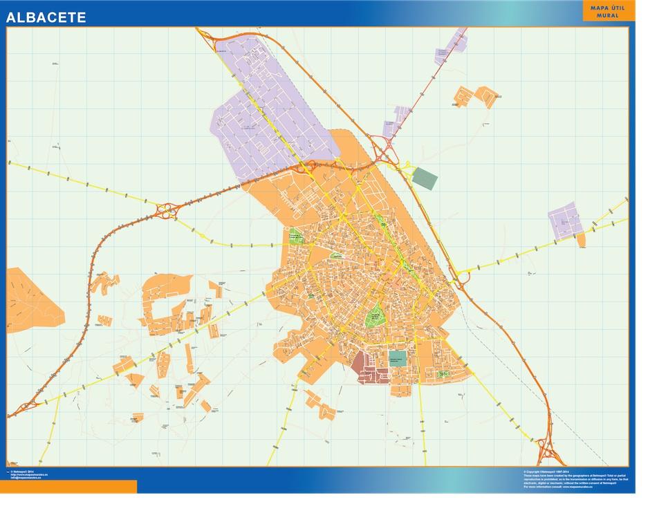 Mapa Albacete callejero plastificado gigante