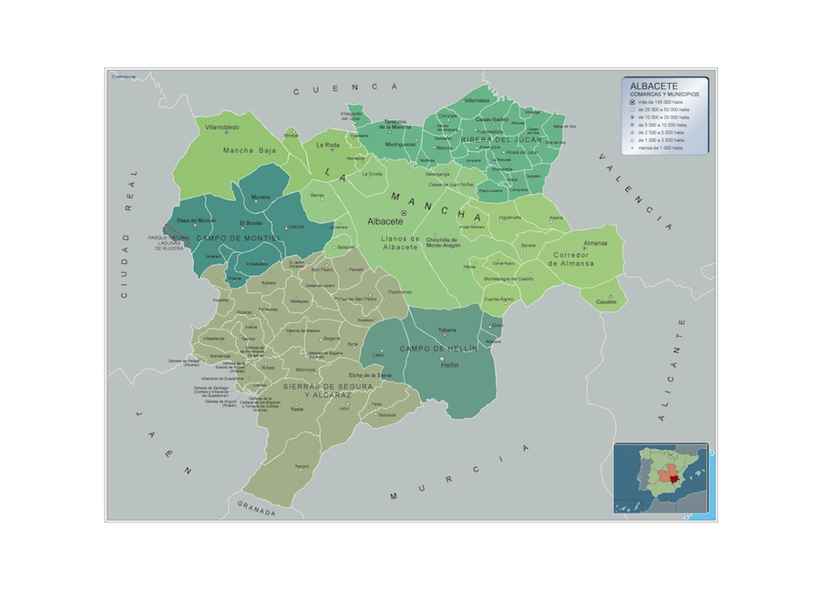 Mapa Albacete por municipios plastificado gigante
