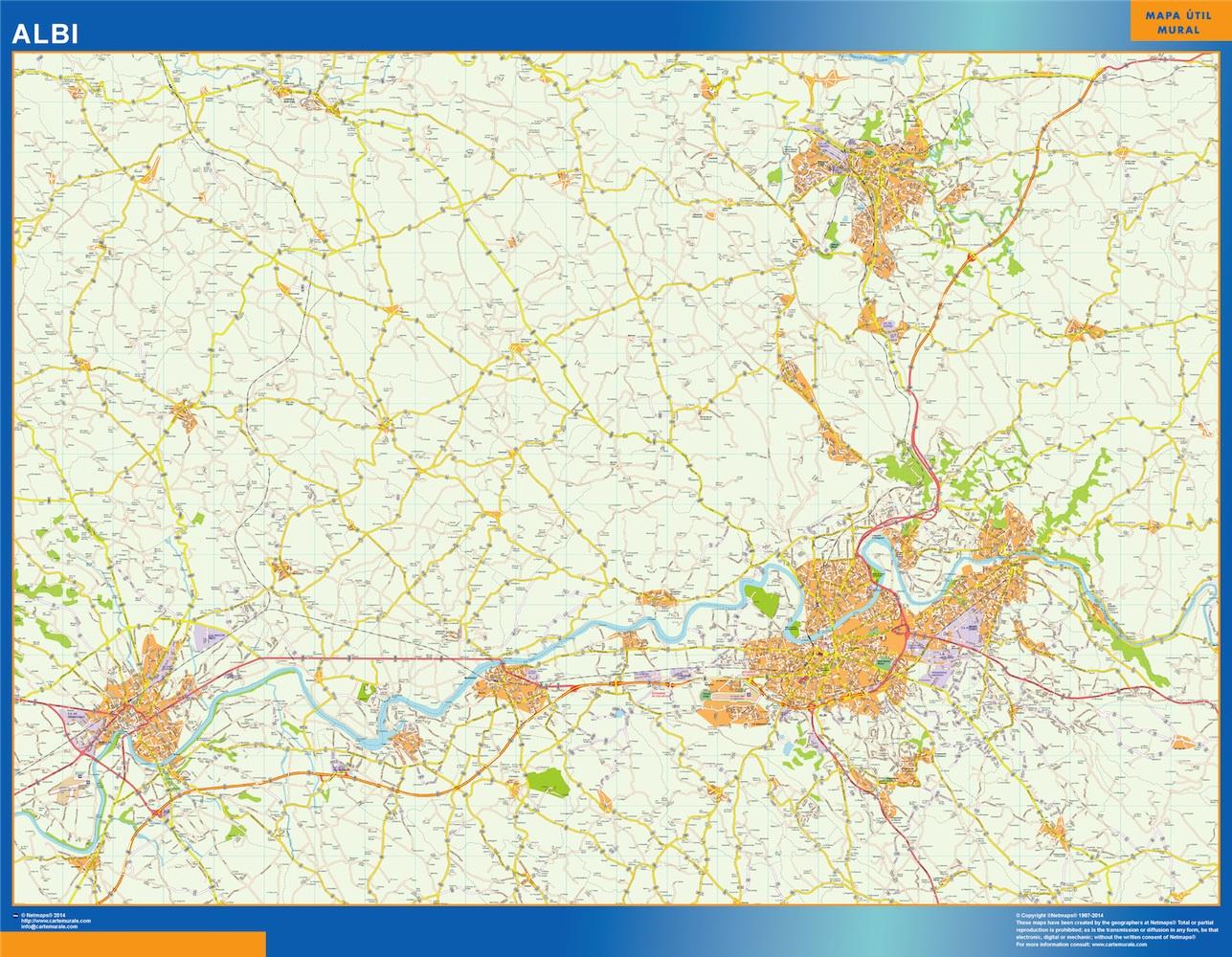 Mapa Albi en Francia plastificado gigante