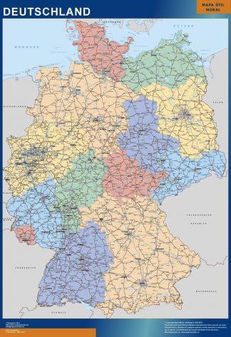 Mapa Alemania plastificado gigante