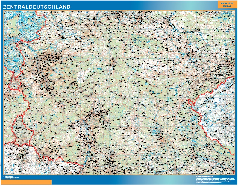 Mapa Alemania central carreteras plastificado gigante