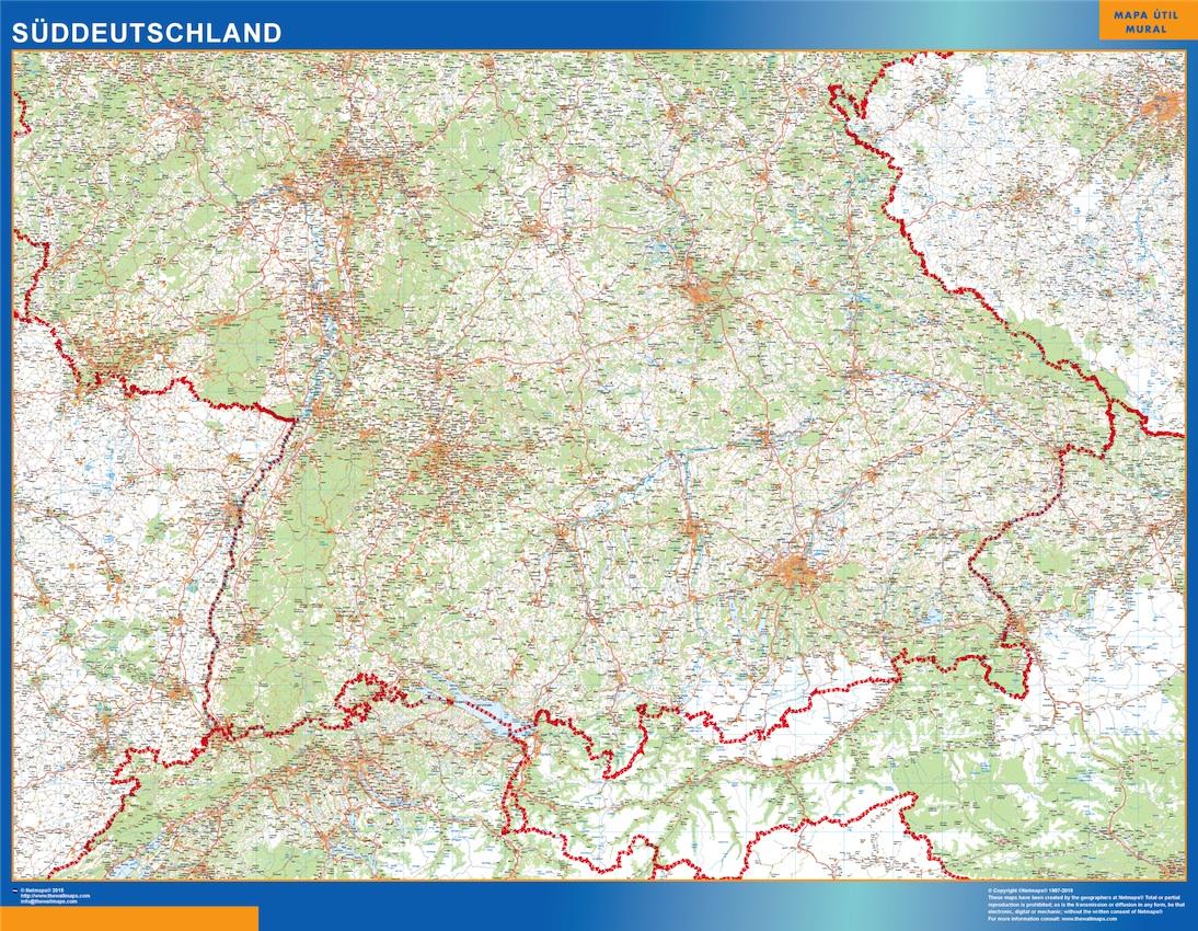 Mapa Alemania sur carreteras plastificado gigante
