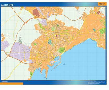 Mapa Alicante callejero plastificado gigante