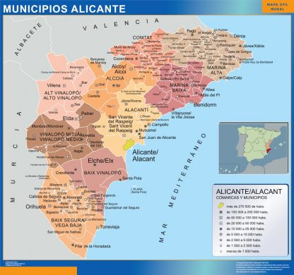 Mapa Alicante por municipios plastificado gigante