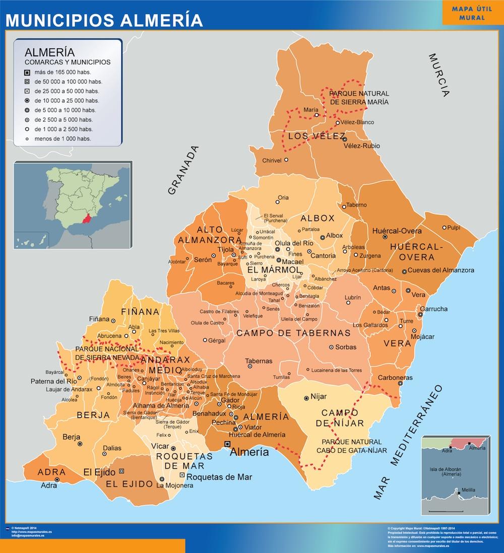 Mapa Almeria por municipios plastificado gigante