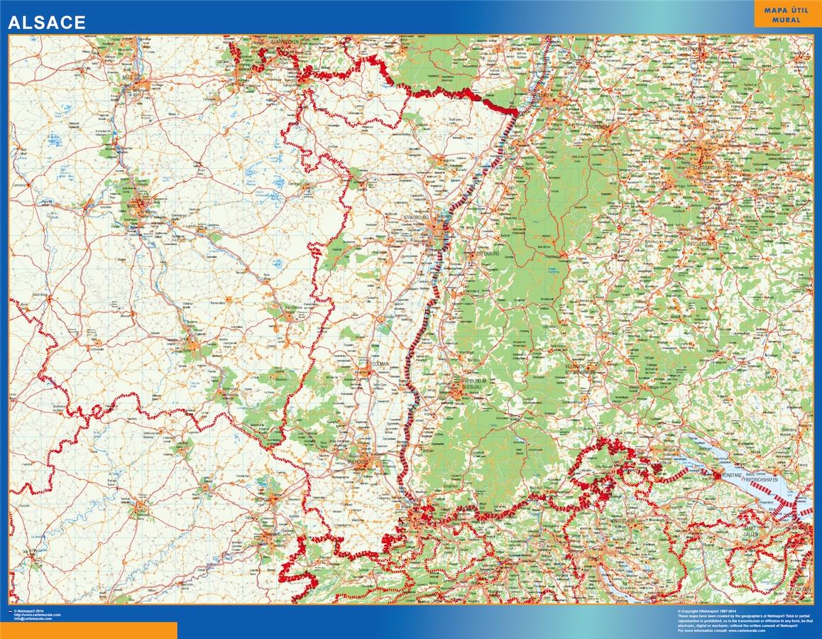 Mapa Alsace en Francia plastificado gigante