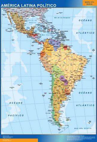 Mapa America Latina político plastificado gigante