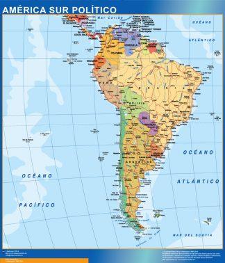 Mapa America Sur plastificado gigante