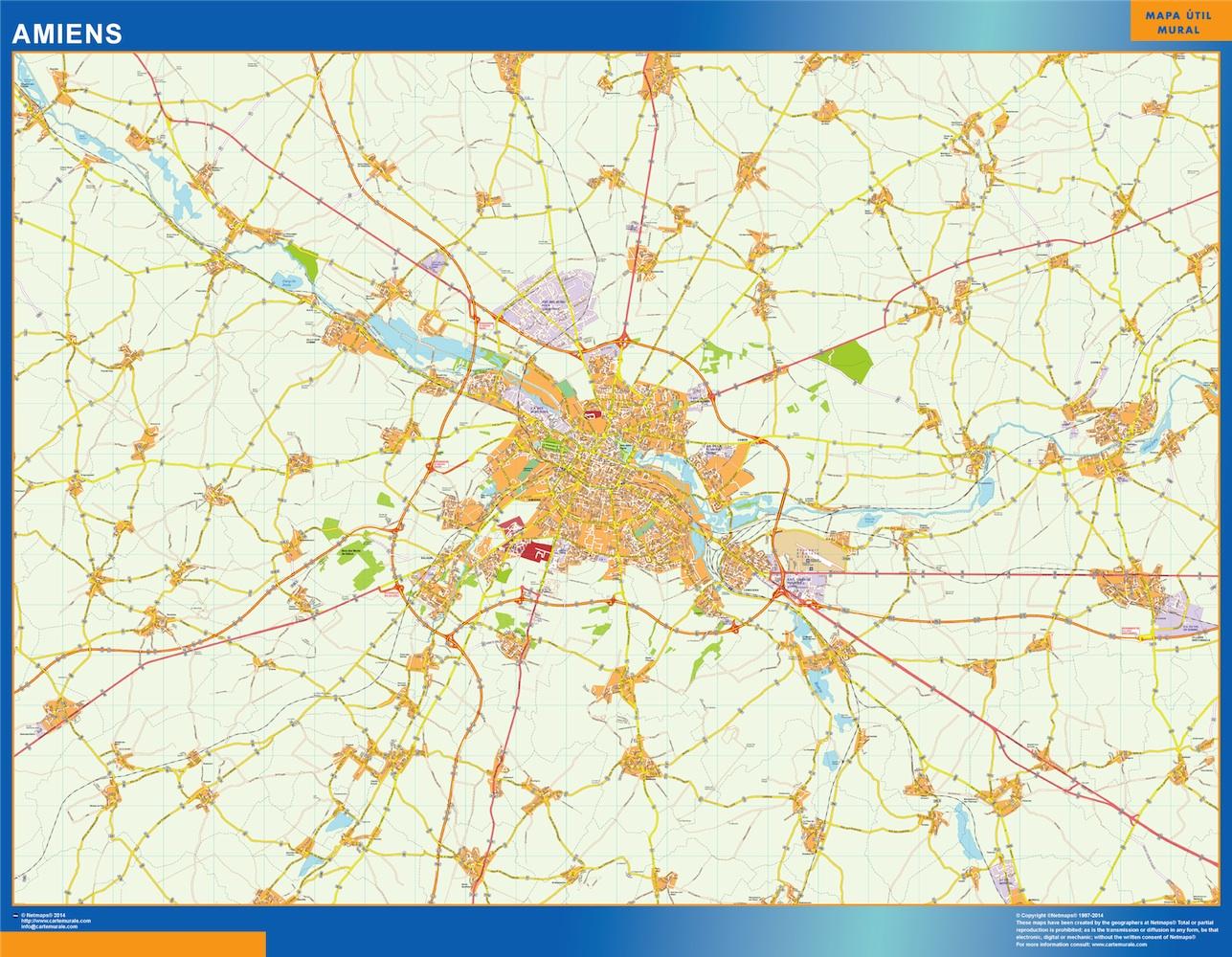 Mapa Amiens en Francia plastificado gigante
