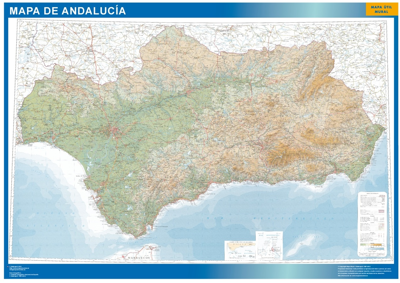 Mapa Andalucia relieve plastificado gigante