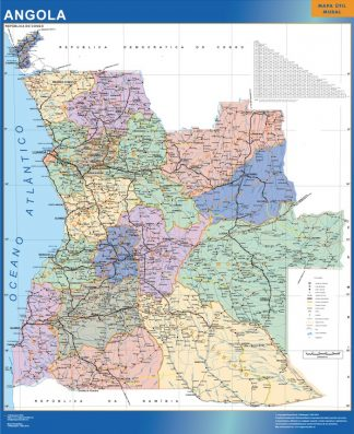 Mapa Angola plastificado gigante