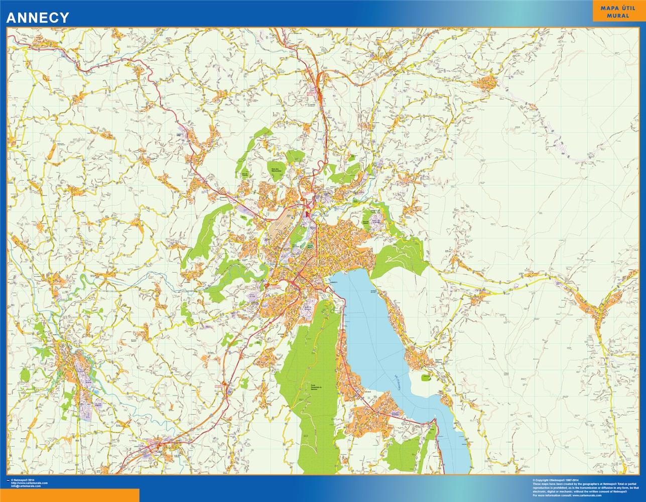Mapa Annecy en Francia plastificado gigante