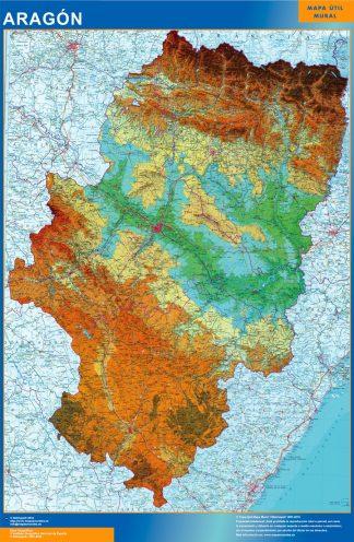 Mapa Aragón físico plastificado gigante