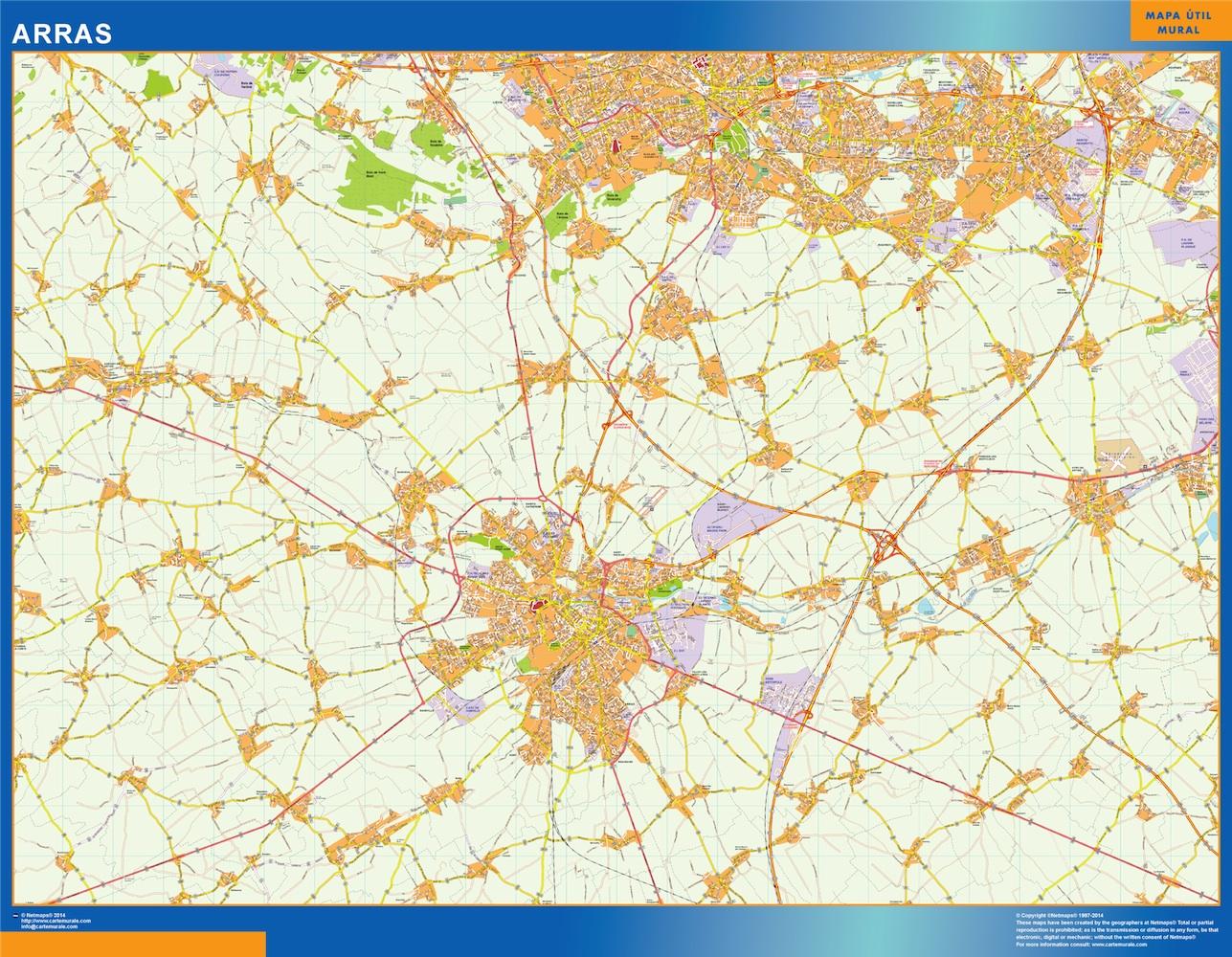 Mapa Arras en Francia plastificado gigante