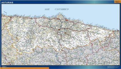Mapa Asturias carreteras plastificado gigante