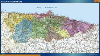 Mapa Asturias comarcal plastificado gigante