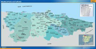 Mapa Asturias por municipios plastificado gigante