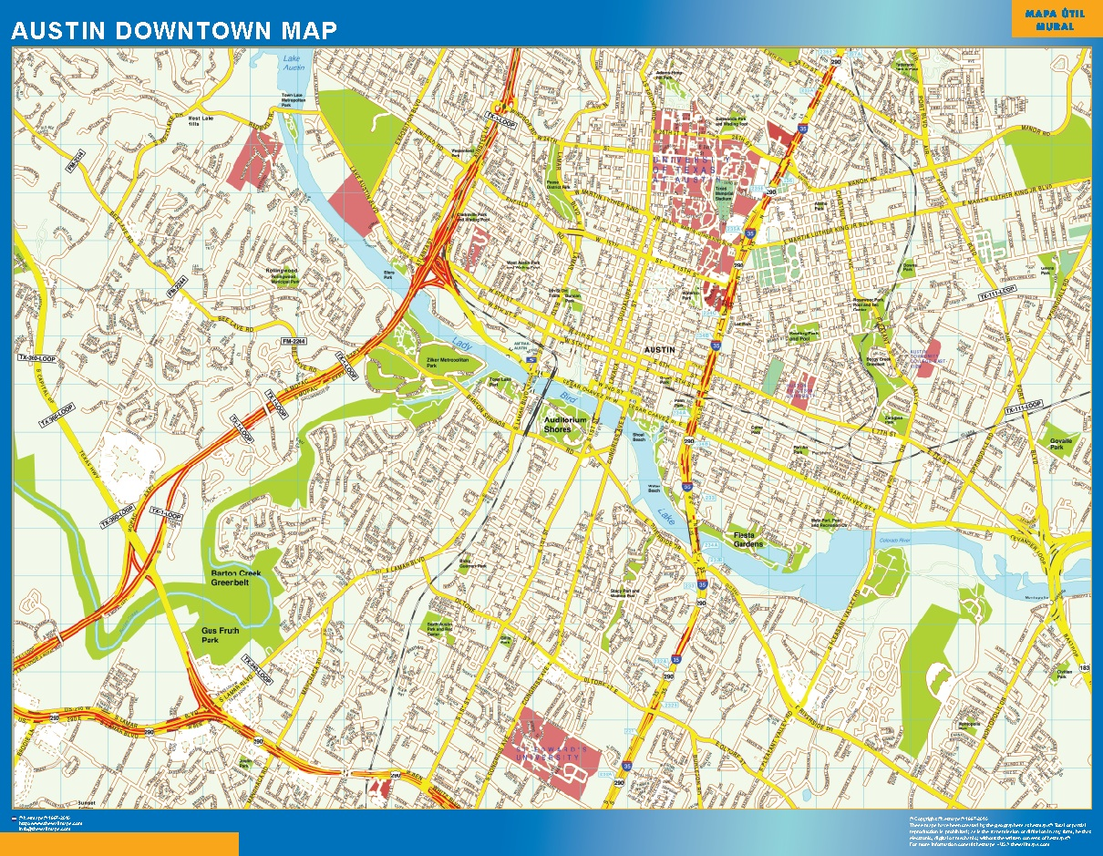 Mapa Austin downtown plastificado gigante