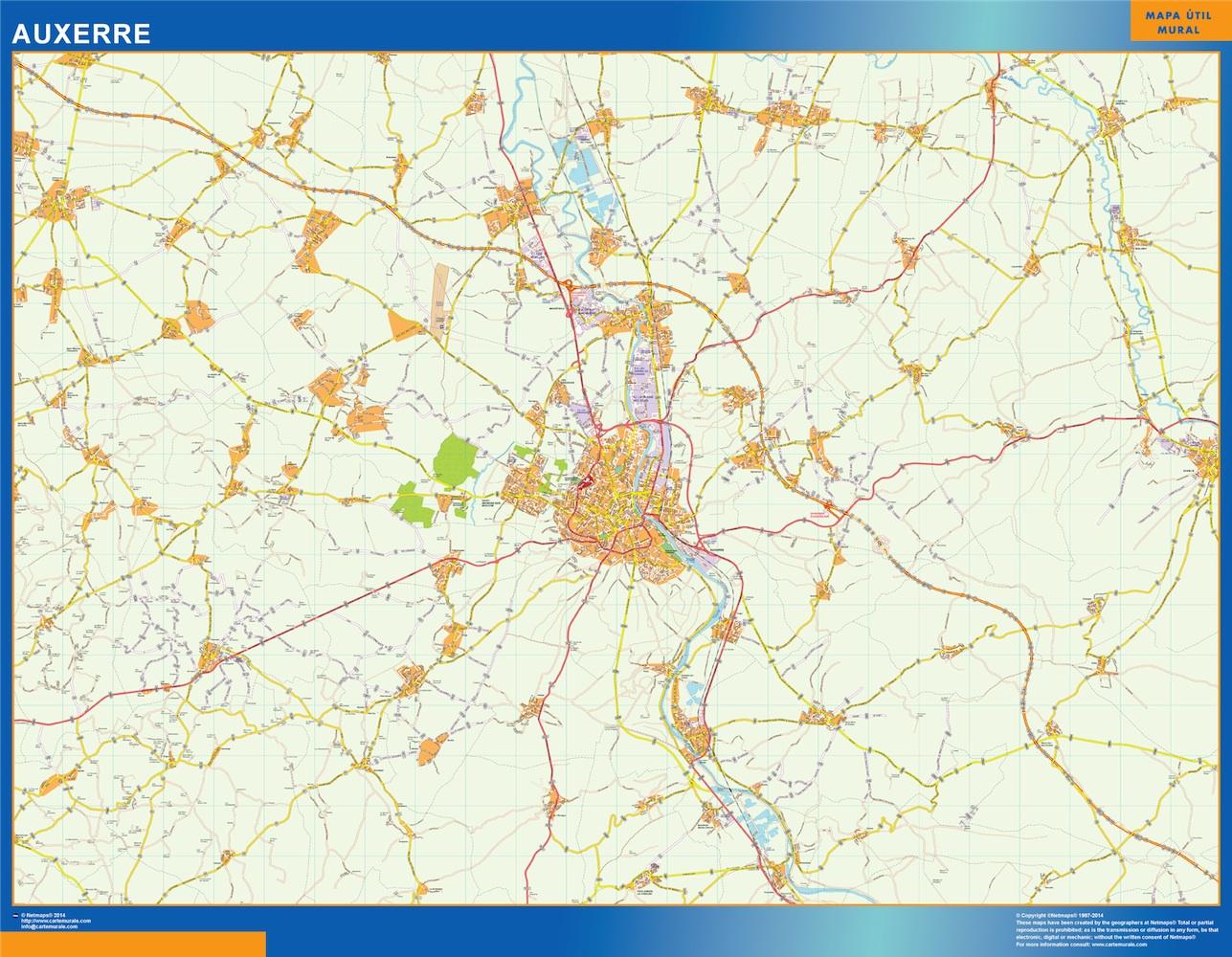 Mapa Auxerre en Francia plastificado gigante