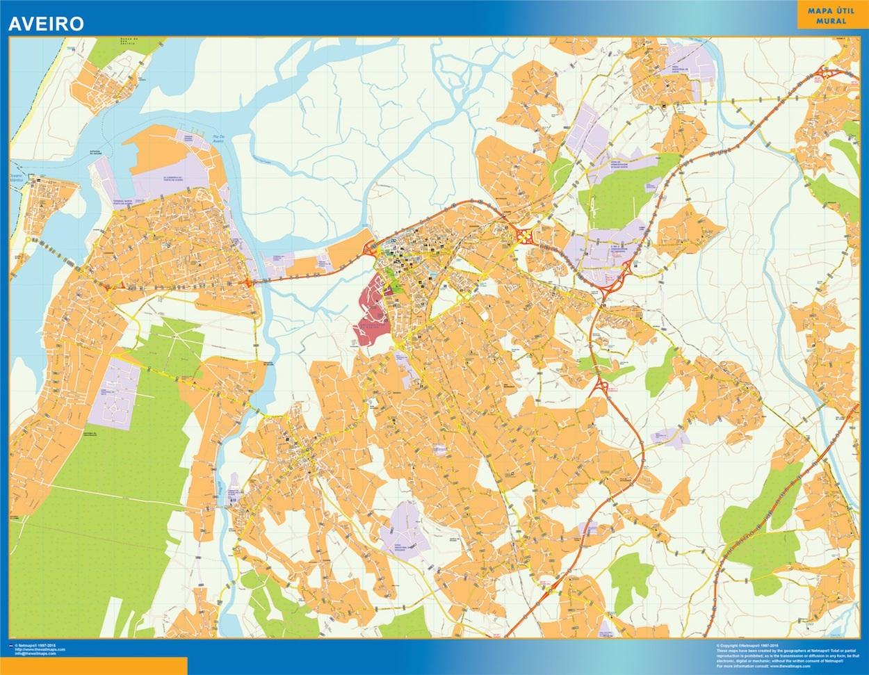 Mapa Aveiro en Portugal plastificado gigante