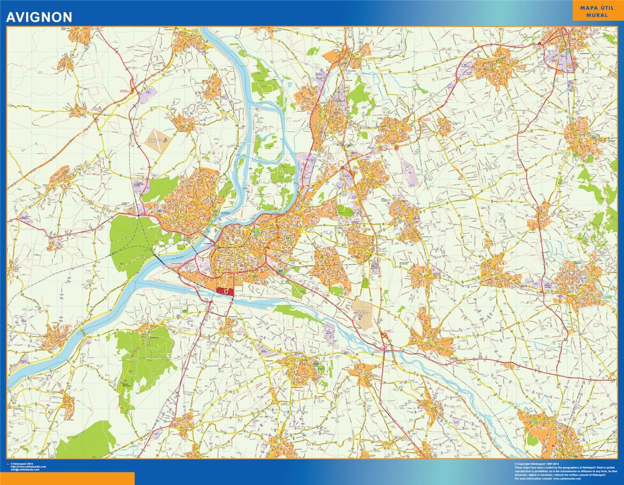 Mapa Avignon en Francia plastificado gigante
