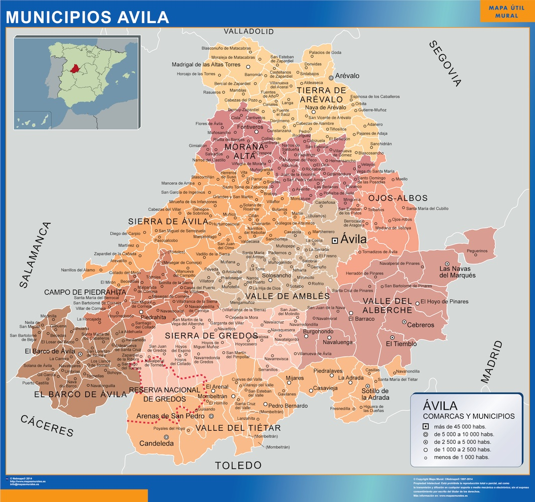 Mapa Avila por municipios plastificado gigante
